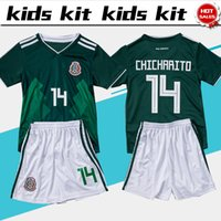 Wholesale mexico green soccer jersey - 2018 world cup Mexico soccer Jersey Kids Kit 2018 Mexico home green Soccer Jerseys #14 CHICHARITO Child Soccer Shirts uniform jersey+shorts