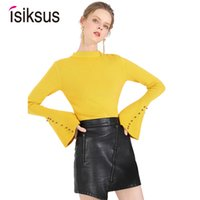 suéter de algodón negro al por mayor-Isiksus Sexy Plain Knitted Pullovers Sweater Mujer Invierno 2018 Cotton Black Thick Sweaters Mujer Casual Jumpers SW010