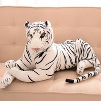 juguete tigre blanco al por mayor-Simulación Tigre Muñeca Tigre Blanco Peluche Juguete Almohada Muñeca Niño Muñeca Regalo de cumpleaños