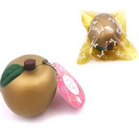 nueva correa de juguetes al por mayor-Golden Apple Squishy Phone Straps Charm Pendant New Jumbo Fruits Squishies Juguetes de descompresión Juguete para niños Regalo 4 9k C