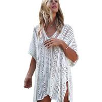 Wholesale Cover Up Swimsuit Shirt Dresses - Women Beach Cover Up Bikini Crochet Knitted Tassel Tie Beachwear Summer Swimsuit V Neck Sexy See-through Beach Dress