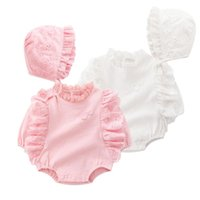 Wholesale newborn ruffle rompers wholesale - Infant rompers new baby kids lace ruffle collar long sleeve jumpsuits+lace hats 2pcs newborn baby cotton clothes