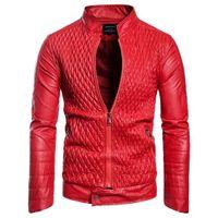 suni deri 3xl toptan satış-Erkek Tasarımcı PU Deri Ceket Erkek Casual Faux Deri Ceket Sonbahar Kış Ince Ceket Ücretsiz Kargo
