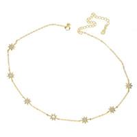 collar de sol de 925 al por mayor-925 joyas de plata esterlina para las mujeres de moda regalo de la muchacha delicada cadena fina bling cz flor del sol delicada 925 collar de gargantilla collares