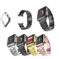 cubierta de acero del reloj al por mayor-Muñequera de acero inoxidable Correa + Funda para Apple Watch iWatch Series 1 2 3 38mm / 42mm