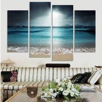 playa pintura al óleo enmarcada al por mayor-4 Unids No Enmarcado Impreso pintura al óleo lienzo decoración de la habitación cartel imagen lienzo arte de la pared moderna Sea Beach Fantasía Marina