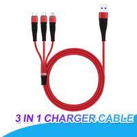 головные косы оптовых-3 в 1 кабель для зарядки 1.2 м Плетеный кабель типа C для Samsung S8 S9 Plus HTC LG Micro USB кабель с металлической головкой разъем USB