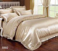 Wholesale Ruffled Comforters - Luxury silk bedding set king size queen size satin silk bed set ruffle tencel bed linens duvet comforter cover 5992