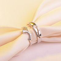 pareja anillo de plata de ley par al por mayor-Anillo de pareja de plata de ley 925 de alto grado Anillo de pareja de plata de boca abierta flor de amor coreano al por mayor