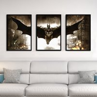 soyut panel tuvali baskılar toptan satış-Thumb Batman boyama Tuval Boyama Çerçeve Oturma Odası Ev Dekorasyonu Için Baskı Resimleri 3 Panel Soyut Duvar Sanat Yağlıboya Posteri