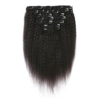 "clip human hair extensions remy 24 UK - 18"" 20"" 24"" Coarse Yaki Brazilian Kinky Straight Human Hair Clip In Hair Extension 7 Pieces And 120g Set Natural Color Remy Hair"