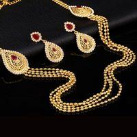 conjuntos de joyas de oro blanco indio al por mayor-Hesiod Vintage Look Indian Tassel Earring Maxi collar para las mujeres de cristal blanco de color rojo oro Turquía Jewelry Set 2016 de la manera