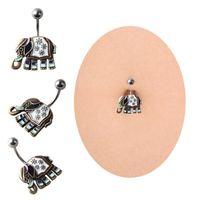 ingrosso anello nero dell'ombelico-Bar Belly Ring Nero Crystal Elephant Body Piercing Button Navel Due gioielli trafori per il corpo