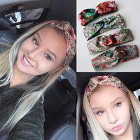 Wholesale Girls Turbans - Designer 100% Silk Cross Headband Fashion Luxury G Elastic Star Hairband For Women Girl Retro Turban Headwraps Gifts