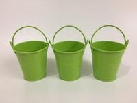 mini baldes verdes venda por atacado-Luz Verde D7 * H7CM vasos de Flores plantador jardim balde caixa de lata de Ferro potes Mini Baldes para Suculentas SF-018G