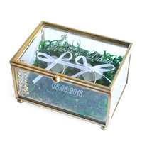Wholesale personalized ring holder - Custom Glass Wedding Ring Box, Personalized Glass Box, Wedding Glass Ring Bearer Box, Rings Holder, Customize Names and Date