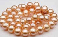 Wholesale Genuine Sea Pearls - Fast Free shipping Real New Fine Genuine Pearl Jewelry 50cm Long AAAAA 10Mm Real Natural South Sea GOLD PINK pearl necklace 14 K