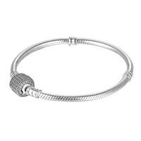 bracelets en diamant pavé achat en gros de-Sterling Silver Women Bracelets avec boîte Bracelet blanc pavé de diamants CZ Logo blanc estampillé pour Pandora European Charms Bead