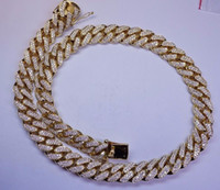Wholesale Solid Platinum Necklace - 100 Carats Diamond 1 Kilo Solid Yellow Gold Miami Cuban Link Chain 22 MM ASAAR