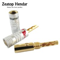 Wholesale Gold Plated Banana - 200pcs 24K Gold Plated Audio Nakamichi BFA Silent Wire Tube Banana Speaker Plug Connector Screw Cable & Wire