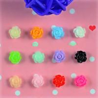 розовые розы оптовых-50 Pcs/lot 12 Colirs DIY 3D Resin Flowers Nail Art Decorations Roses Nails Tools JH030 (Black White Pink Red Yellow Blue Green)