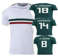 Wholesale Wholesale Mexico - 2018 World Cup Mexico Green white Soccer Jersey 2017 2018 Mexico home away CHICHARITO HERRERA M.LAYUN soccer jersey football shirt DHL ship