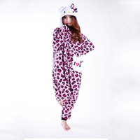 pijamas de macacão para adultos venda por atacado-Estampa de leopardo KT Gato Animal Pijama Unisex Adulto Macacões Flanela Pijama Gato Inverno Animal Onesies Pijama Vendas Diretas Mulheres cosplay