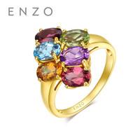 anillos de granate de oro amarillo al por mayor-ENZO 18K Oro Amarillo (AU750) 6PC / 2.8CT Topaz Granate Peridot Turmalina Citrino Amatista Compromiso Mujeres Anillo Joyería Clásica