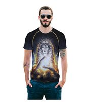 ingrosso re animale re-Hot Wholesale-Raisevern 3d maglietta top animali leone re pittura stampa t-shirt casual manica corta top tees per uomo donna dropship