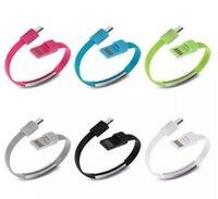 câble de données de marque achat en gros de-Brand New Bracelet Main Poignet Data Sync Chargeur de Charge USB Câble 20 cm Charge Rapide Portable Noodle Usb Chargeur Câble Pour Micro V8 Android