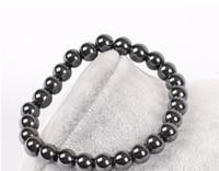 ingrosso braccialetto di pietra preziosa delle donne-Mens guarigione 6mm 8mm nero pietra preziosa ematite Buddha perline coppie salute pietra semipreziosa uomini donne gioielli braccialetto