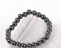 ingrosso gioielli in pietra semi-Mens Healing 6MM 8mm nero pietra calcarea ematite Buddha perline coppie salute pietra semipreziosa uomini donne gioielli braccialetto