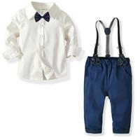 ingrosso indumenti da signore-Salopette per ragazzi Salopette e camicia a quadri Gentleman Suit Salopette per ragazzi Indumenti per bambini Pantaloni Abito Set di abbigliamento per bambini H392