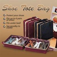 ingrosso portapacchi di pugilato-6 paia sotto il letto scarpa organizzatore scarpiera porta scarpe scatola in ordine tasche rack