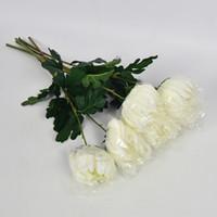 handmade flowers venda venda por atacado-Flor Artificial Crisântemo Único Meganium Branco Semi Handmade Simulação Flores De Seda Fontes Decorativas Do Partido Venda Quente 2 3hy V