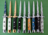 """Wholesale Blade Hunting Knife - AKC 9"""" INCH Acrylic handle Italian Godfather Stiletto 440C steel blade survival outdoor camping knives single action free shippin"""