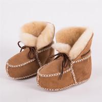 koyun derisi yün biri toptan satış-2018 Kış Yeni Koyun Yün Bir Toddler Ayakkabı 0-1 Yaşında Su Geçirmez Yumuşak Alt Bebek Ayakkabıları Sıcak Bebek Kız Erkek Çizmeler V180