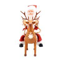 batteriebetriebene weihnachtsspielzeug großhandel-48pcs / lot batteriebetriebener reizender Weihnachtsmann, der ein Rotwild wandert auf der Straße mit Licht und lauter Musik-Ton-Weihnachtsspielwaren Geschenk reitet