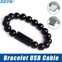 Wholesale micro usb bracelet phone online – ZZYD Micro USB Cable Beads Bracelet Charging Sync Data Phone Charger Cables for Samsung S6 S7 iP8 X Xr Xs Max