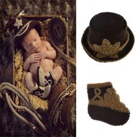 Wholesale handmade knitted clothing for sale - West Cowboy Two Children Cap And Shoes Soft Knitting Kids Clothing Set Photography Props Lovely Handmade Crochet Hat dh WW