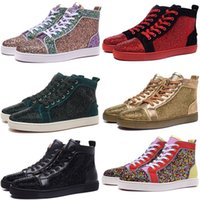 Discount cut diamonds - Fashion Designer Luxury Mens Red Bottoms Shoes With Diamond High Top Red Bottoms Sneakers For Men And Women Wedding Party Flats Casual Shoes