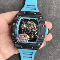 reloj de titanio para hombres al por mayor-43 mm Forge Carbono Titanio KVF KV Esqueleto Dial Bisel interno Correa de goma MIYOTA 8215 055 reloj automático para hombre reloj impermeable
