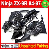 97 kit de carenado ninja zx9r al por mayor-8Juego Kit de carenado completo sin pintar para KAWASAKI NINJA ZX9R 94 95 96 97 ZX 9R ZX-9R 94 95 96 97 1994 1995 1996 1997 Carenados Carrocería Carrocería
