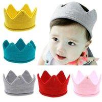coroas de menino recém-nascido venda por atacado-MUQGEW recém-nascidos fotografia adereços meninos New Baby bonito coroa imperial Knit Headband Hat Adorável criança Caps