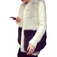 ingrosso maglia nera di coniglio-2018 Moda Faux Fur Gilet Grigio e nero Splicing Faux Rabbit Fur Vest Donna Fur Jacket
