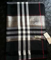soie de laine achat en gros de-Echarpe de designer de luxe marque de mode écharpe écharpe à carreaux de cheval de guerre teint en fil de laine de soie argentée, écharpes pour hommes et femmes