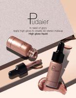 Wholesale whitening lip gloss - HOT Selling Pudaier 12 Colors High Gloss Liquid Brighten Chocolate Brown Luminous Glow Bronzer Highlighter Shimmer Lips Face Makeup