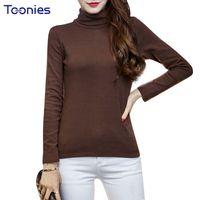 Wholesale Turtleneck Tee Shirts - Womens T-shirt Tops Cotton Turtleneck T Shirts Long Sleeved Slim Basic Tees Top Slim Female Solid Plus Size Autumn 15 Colors