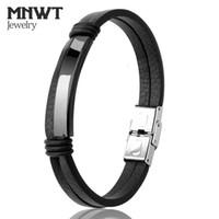 Wholesale wrist cuff punk - MNWT Black Leather Stainless Steel Cuff Men Bracelet Fashion Punk Wrist Handmade Jewelry Bracelets Accessory Pulseiras Men Gifts Jewelry