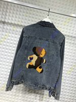 Wholesale denim jean jacket coat - 2018 embroid flocking bear letter autumn designer luxury brand clothing jean jacket for men denim jackets coat women clothing Outerwear